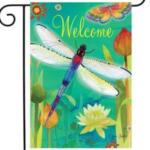 Garden Flag- New- Welcome Spring Dragonfly